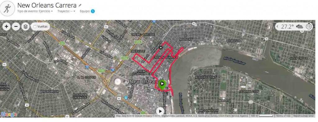 Mapa de mi entreno por el centro de Nueva Orleans